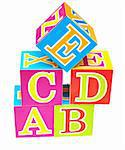 words alphabet blocks toy on a white background Stock Photo - Royalty-Free, Artist: inxti                         , Code: 400-04741509