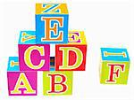 words alphabet blocks toy on a white background