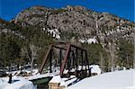 Railroad trestle over the Animas River north of Durango, Colorado Stock Photo - Royalty-Free, Artist: disorderly                    , Code: 400-04741537