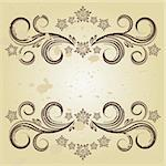 Beautiful vintage designs of flowers and scrolls to sepia grunge background. Stock Photo - Royalty-Free, Artist: OlgaYakovenko                 , Code: 400-04742150