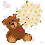 funny bear with flower Cute little Teddy bear with a bouquet