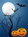 Halloween night, vector illustration Stock Photo - Royalty-Free, Artist: robisklp                      , Code: 400-04743428