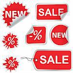 Set of red discount price labels Stock Photo - Royalty-Free, Artist: vadimone                      , Code: 400-04744573