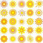 bright symbolic vector sun collection Stock Photo - Royalty-Free, Artist: DLeonis                       , Code: 400-04745509