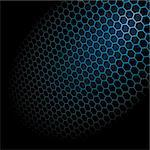 Metal Shine Hexagon Grid on Black Background. Vector Illustration Stock Photo - Royalty-Free, Artist: fixer00                       , Code: 400-04746397