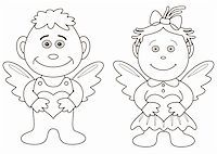 Girl and boy angels with hearts. Picture about love and valentine's day, contours Stock Photo - Royalty-Freenull, Code: 400-04752168