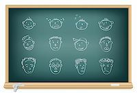 Drawing faces by a chalk on the classroom blackboard Stock Photo - Royalty-Freenull, Code: 400-04752681