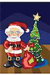 Santa with glasses on, and a patched bag of gifts, stands by a Christmas tree decorated with Christmas balls and popcorn. Stock Photo - Royalty-Free, Artist: topgorgon, Code: 400-04753611