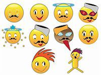 Collection of different emoticons in variety of expressions Stock Photo - Royalty-Freenull, Code: 400-04754536