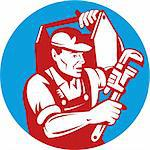 illustration of a Plumber with monkey wrench and carrying toolbox Stock Photo - Royalty-Free, Artist: patrimonio                    , Code: 400-04754937