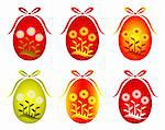 vector six versions of Easter egg with daisy decor on white background, Adobe Illustration 8 format Stock Photo - Royalty-Free, Artist: beta757                       , Code: 400-04754951