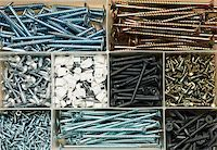 Box with various screws and wall fixings Stock Photo - Royalty-Free, Artist: naumoid, Code: 400-04756134