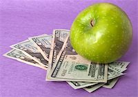 education loan - A green apple sits on top of a pile of $20 bills to illustrate the cost of education, food, or health care. Stock Photo - Royalty-Freenull, Code: 400-04758610