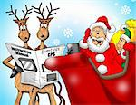 Image of Santa with Reindeer and an Elf trying to figure out a GPS. Stock Photo - Royalty-Free, Artist: srsallay                      , Code: 400-04761593