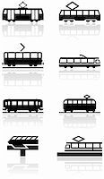 Vector set of different train illustrations or symbols. All vector objects are isolated. Colors and transparent background color are easy to adjust. Stock Photo - Royalty-Freenull, Code: 400-04762724