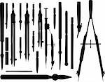 set of different drawing instruments made in vector Stock Photo - Royalty-Free, Artist: icetray                       , Code: 400-04762729