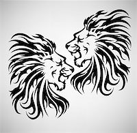 roar lion head picture - Lion roar vector illustration, in black and white tattoo style Stock Photo - Royalty-Freenull, Code: 400-04762820