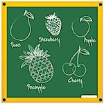 illustration of fruits sketch on chalkboard