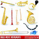 A color collection of brass (wind) musical instruments. Stock Photo - Royalty-Free, Artist: Stiven                        , Code: 400-04764198