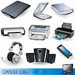 Computer color icons set - variety of peripheral computer units Stock Photo - Royalty-Free, Artist: Stiven                        , Code: 400-04764212