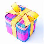Colorful striped gift box isolated on a white background. Stock Photo - Royalty-Free, Artist: bordyug                       , Code: 400-04765024