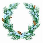 The Christmas wreath of fir twigs. Illustration in vector format EPS. Stock Photo - Royalty-Free, Artist: orensila                      , Code: 400-04765468