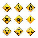 illustration of set of warning icons on white background Stock Photo - Royalty-Free, Artist: get4net                       , Code: 400-04767229