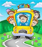 School bus on road - color illustration. Stock Photo - Royalty-Free, Artist: clairev                       , Code: 400-04769462