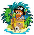 Small island and pirate with hook - vector illustration. Stock Photo - Royalty-Free, Artist: clairev                       , Code: 400-04770198