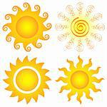 bright symbolic vector sun collection Stock Photo - Royalty-Free, Artist: DLeonis                       , Code: 400-04772754