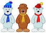 Teddy bears in winter cap and scarf, friends, set Stock Photo - Royalty-Free, Artist: alexcoolok                    , Code: 400-04775417