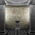 stone columns and pedestal made in 3D Stock Photo - Royalty-Free, Artist: icetray                       , Code: 400-04776383
