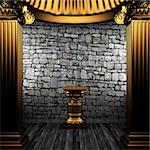 bronze columns and pedestal made in 3D Stock Photo - Royalty-Free, Artist: icetray                       , Code: 400-04776403