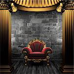 bronze columns and chair made in 3D Stock Photo - Royalty-Free, Artist: icetray                       , Code: 400-04776415