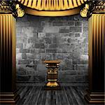 bronze columns and pedestal made in 3D Stock Photo - Royalty-Free, Artist: icetray                       , Code: 400-04776417