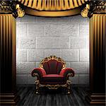 bronze columns and chair made in 3D Stock Photo - Royalty-Free, Artist: icetray                       , Code: 400-04776429