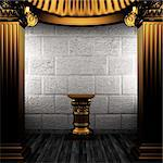 bronze columns and pedestal made in 3D Stock Photo - Royalty-Free, Artist: icetray                       , Code: 400-04776431