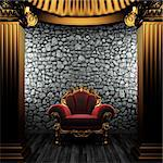 bronze columns and chair made in 3D Stock Photo - Royalty-Free, Artist: icetray                       , Code: 400-04776461