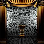 bronze columns and pedestal made in 3D Stock Photo - Royalty-Free, Artist: icetray                       , Code: 400-04776463