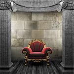 stone columns and chair made in 3D Stock Photo - Royalty-Free, Artist: icetray                       , Code: 400-04776467