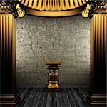 bronze columns and pedestal made in 3D Stock Photo - Royalty-Free, Artist: icetray                       , Code: 400-04776477