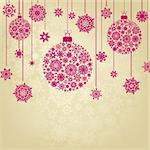 Stylized Christmas Balls, On beige Background. EPS 8 vector file included Stock Photo - Royalty-Free, Artist: ghostintheshell               , Code: 400-04777162