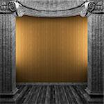 stone columns and wallpaper made in 3D Stock Photo - Royalty-Free, Artist: icetray                       , Code: 400-04777575