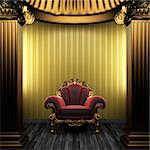 bronze columns, chair and wallpaper made in 3D Stock Photo - Royalty-Free, Artist: icetray                       , Code: 400-04778119