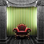 stone columns, chair and wallpaper made in 3D Stock Photo - Royalty-Free, Artist: icetray                       , Code: 400-04778123