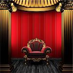 bronze columns, chair and wallpaper made in 3D Stock Photo - Royalty-Free, Artist: icetray                       , Code: 400-04778125