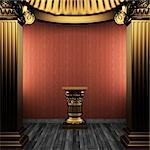 bronze columns, pedestal and wallpaper made in 3D Stock Photo - Royalty-Free, Artist: icetray                       , Code: 400-04778127