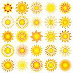 bright symbolic vector sun collection Stock Photo - Royalty-Free, Artist: DLeonis                       , Code: 400-04779398