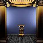 bronze columns, pedestal and wallpaper made in 3D Stock Photo - Royalty-Free, Artist: icetray                       , Code: 400-04780253