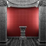 stone columns, pedestal and wallpaper made in 3D Stock Photo - Royalty-Free, Artist: icetray                       , Code: 400-04780277